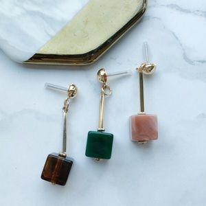 Jewelry - Stylish Cube Drop Marble Earrings